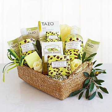 Cucumber and Olive Oil Spa Gift Basket