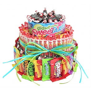 Three Tier Candy Cake - Send Candy Bouquets #CandyBirthdayCake