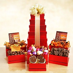 Godiva Valentine Red Gift Tower - Send Valentine's Day Gift Tower - Godiva