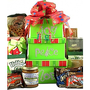 Joy, Peace, Noel, Holiday Gift Tower - Christmas Gift Towers