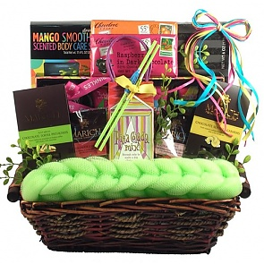 Just Beachy, Tropical Spa and Gourmet Gift Basket - Spa Gift Baskets for Women