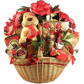 Luv Ya! Deluxe Valentines Day Gift Basket (Deluxe) - Romantic Gift Baskets for Couples