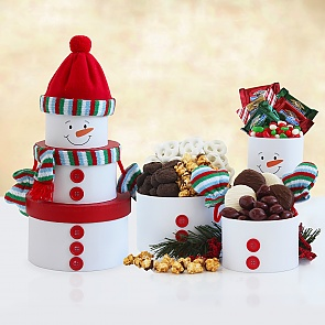 Snowman Tower of Treats - Snowman Tower of Treats #ChristmasGiftTower